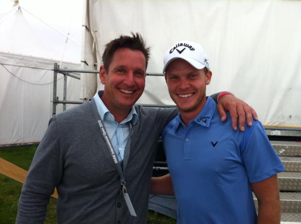 Pflegt auch besten Kontakt mit der Weltklasse – hier mit Danny Willett, dem Sieger  der BMW International Open 2012 in Köln