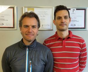 Zuständig für das winterliche Golf-Fitnesstraining: Timo Wiek (l) und Markus Pabst